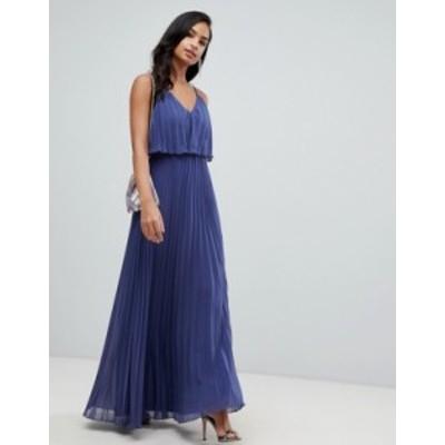 エイソス レディース ワンピース トップス ASOS DESIGN pleated crop top maxi dress Dusty blue