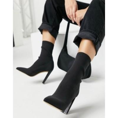 アルド レディース ブーツ・レインブーツ シューズ ALDO Deludith heeled ankle boot in stretch black Black