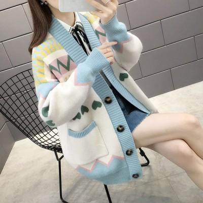 カーディガン セーター アウター レディース 2020年 秋新作 コート 韓国風 春ニットセーター 女性 ルーズ トレンド