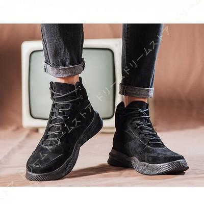 ハイカット スニーカー メンズ ショートブーツ 軽量 歩きやすい 厚底 レースアップブーツ ワークブーツ おしゃれ 革靴 秋 冬 エンジニアブーツ 登山靴