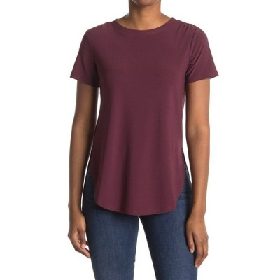 ハロゲン レディース Tシャツ トップス Short Sleeve Tunic T-Shirt BURGUNDY FIG