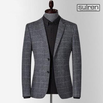 ジャケット スーツジャケット テーラードジャケット ビジネスジャケット 2ツボタン チェック柄 カジュアル 通勤 春 メンズ