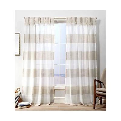 Exclusive Home Curtains ダルマピンチプリーツカーテンパネル 50x96インチ リネン 2パネル