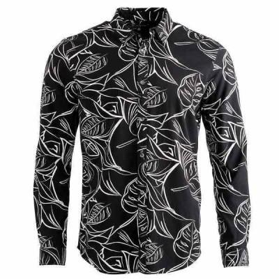 アイエヌシーインターナショナルコンセプト シャツ トップス メンズ INC Men's Regular-Fit Palm-Print Shirt,  Deep Black