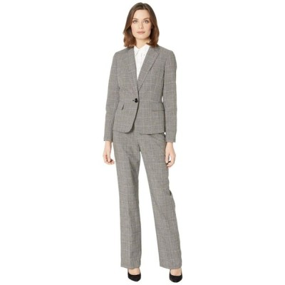 ル スーツ Le Suit レディース スーツ・ジャケット アウター One-Button Notch Collar Plaid Pantsuit Black Multi