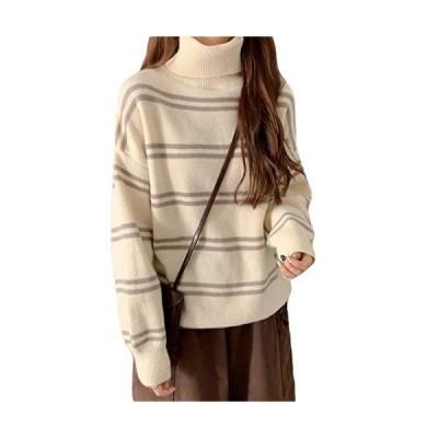 BEIBANGニットセーター レディース セーター タートルネック ハイネック 長袖 ゆったり 韓国 プルオーバー 厚手