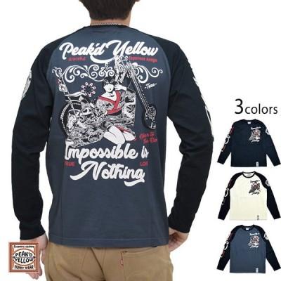 バイク長袖Tシャツ Peak'd Yellow PYLT-218 和柄 和風 エフ商会 姉御 着物 ロングTシャツ