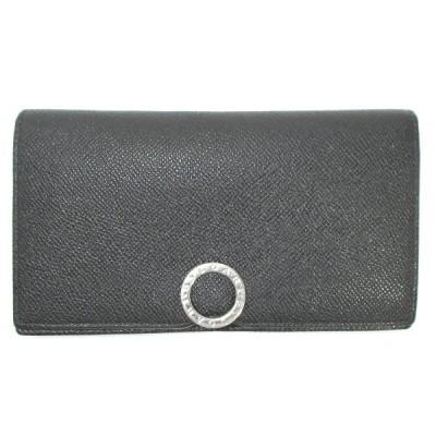 【中古】BVLGARI ブルガリ・ブルガリ 長財布 ブラック メンズ財布 レザー