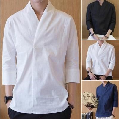 メンズシャツ 半袖シャツ  綿麻シャツ リネンシャツ  カジュアル シャツ 通気 吸汗   涼しい 夏