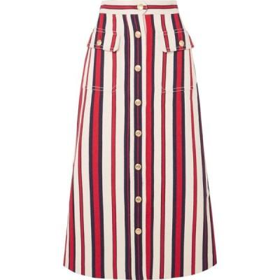 グッチ レディース ひざ丈スカート スカート Striped denim midi skirt