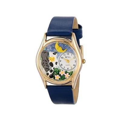 【新品・送料無料】Whimsical Watches Kids' C0120012 Classic Gold Cats Night Out Royal Blue Lea