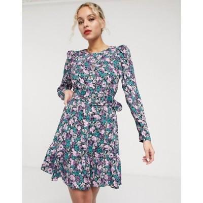 アンドアザーストーリーズ レディース ワンピース トップス & Other Stories floral print belted mini dress in multi