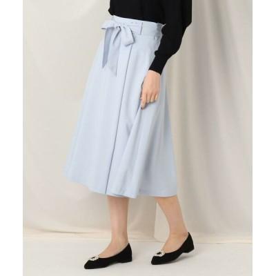 Couture Brooch/クチュールブローチ ウエストリボンラップ風フレアスカート サックス(090) 38(M)
