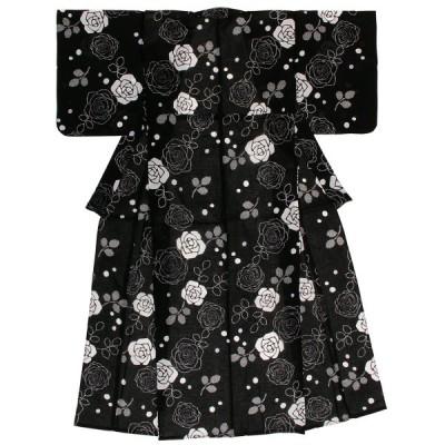 浴衣 レディース bonheur saisons 黒 ブラック 薔薇 バラ 花 綿 紅梅織り 夏祭り 花火大会 仕立て上がり
