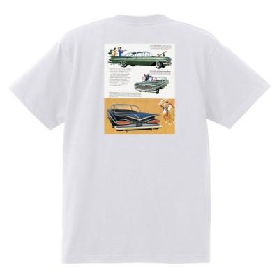 アドバタイジング シボレー インパラ 1959 Tシャツ 056 白 アメ車 ホットロッド ローライダー広告 ビスケイン ベルエア
