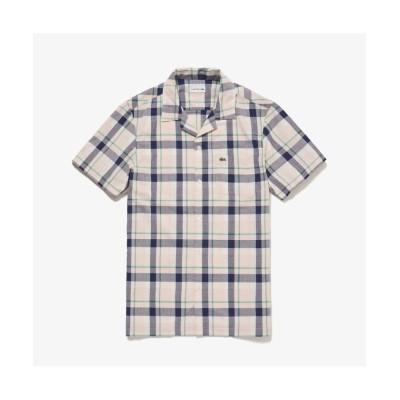 【ラコステ】 オープンネックチェックシャツ メンズ ピンク ベージュ 40(日本サイズL) LACOSTE