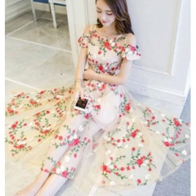 パーティードレス ワンピース ロング オフショルダー 花柄 透け感 レース 袖あり フレア お呼ばれ 二次会 結婚式 韓国 ファッション