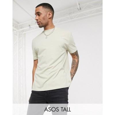 エイソス ASOS DESIGN メンズ Tシャツ トップス Tall organic relaxed t-shirt in beige グレー