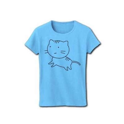 まったりトラ猫 リブクルーネックTシャツ(ライトブルー)