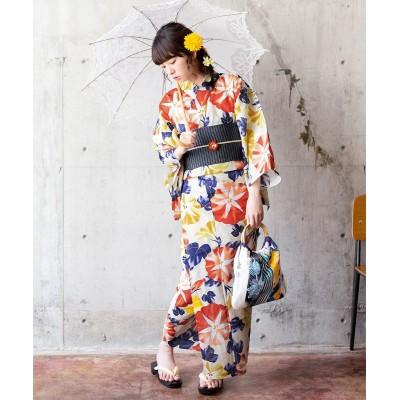 KIMONOMACHI2点セット(朝顔ゆかた+長尺作り帯) 【レディース浴衣】, plus size yukata