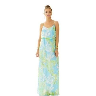 ワンピース リリーピュリッツァー Lilly Pulitzer DEANNA Gold Metallic Silk MAXI Dress SHORELY BLUE beachy L S