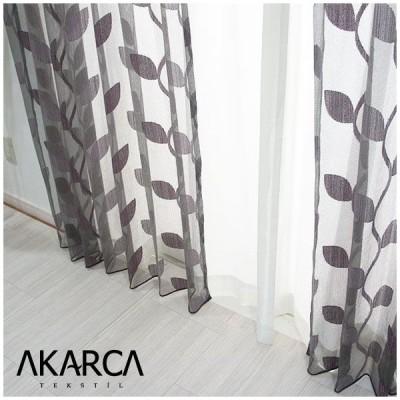 カーテン レースカーテン おしゃれ 葉柄刺繍 YH925 ヤプラク サイズオーダー 巾45〜100cm×丈50〜270cm OKC5