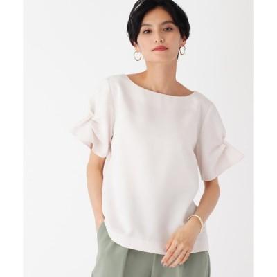 シャツ ブラウス 【WEB限定】麻調合繊袖タックブラウス
