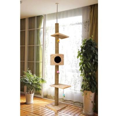 キャットツリー 猫ハウス キャットタワー ペット用品 高さ調整可能 210-280cm 据え置き型 運動不足解消 ccj09