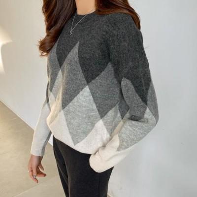 レディース ニット/セーター Knitted Wool with Diamond Pattern #108735