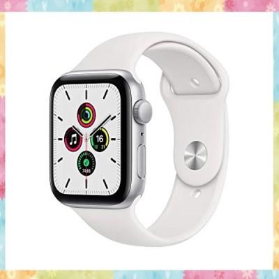 最新 Apple Watch SE(GPSモデル)- 44mmシルバーアルミニウムケースとホワイトスポーツバンド