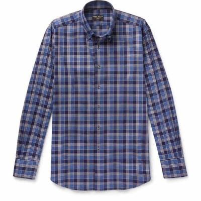 エマ ウィリス EMMA WILLIS メンズ シャツ トップス checked shirt Dark blue