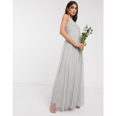 Beauut レディース ワンピース マキシ丈 ワンピース・ドレス embellished maxi dress with pleated skirt in light grey ライトグレー