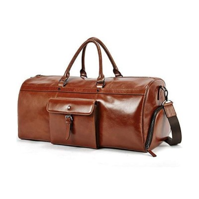 CLUCI Duffle Bags for Men Oil Wax Genuine Leather Large Weekender Travel Bags Shoe Compartment Luggage for Women fathers day gifts 並行輸