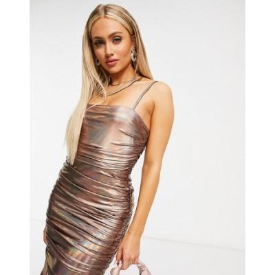 ラーレ Rare レディース ボディコンドレス ミドル丈 ワンピース・ドレス London bodycon midi dress in bronze iridescent ブロンズ