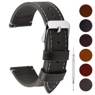 腕時計ベルト 18mm、Fullmosa 全6色 ウォッチベルト 本革 レザー クイックリリース 18mm グレー+シルバーバックル