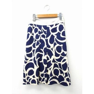 【中古】ノーリーズ Nolley's スカート フレア ギャザー 膝丈 ジップ 総柄 36 ブルー 青 /KT49 レディース