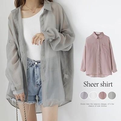 自社生産&撮影 上品 カジュアル 焼け止め 長袖シャツ レディース 韓国ファッション 可愛い UVカット 透け感