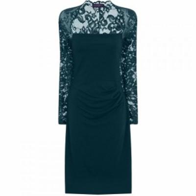 ホットスカッシュ HotSquash レディース ワンピース ワンピース・ドレス Lace Sleeved Dress In Clever Fabric Emerald
