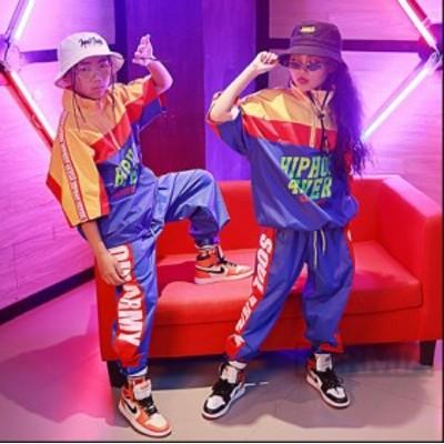 ブルーパンツ 半袖トップス キッズダンス衣装 ヒップホップ ジャズダンス 女の子 男の子 HIPHOP ダンス衣装 キッズ体操服 上下 ジュニア