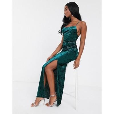 クラブエル ロンドン レディース ワンピース トップス Club L London velvet square neck maxi dress with thigh split in green