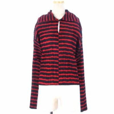 【中古】プリーツプリーズ PLEATS PLEASE カットソー シャツ 長袖 プリーツ ボーダー 赤 黒 レッド ブラック ■SM