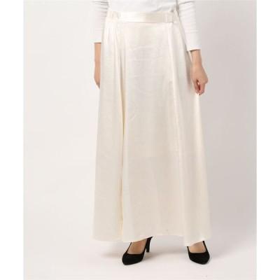 スカート サテンサイドスリットマキシスカート*