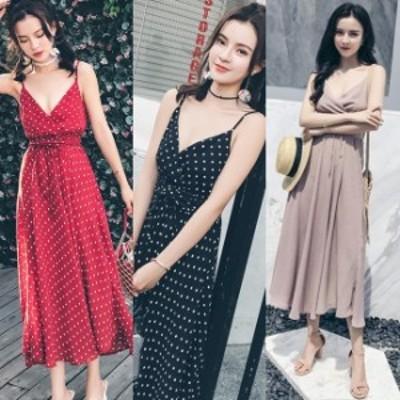 夏ワンピースレディース キャミソールワンピース ロング 韓国 ファッション レディース 夏服 フレア シフォンワンピース カシュクール 無
