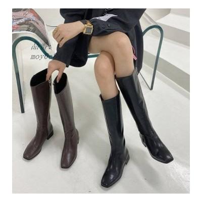 ロングブーツ ブーツ レディース ローヒール ロング 歩きやすい 美脚 秋 定番 冬 秋冬 スクエアトゥ ジッパー おしゃれ 痛くない 無地 脚長 履きやすい シンプル