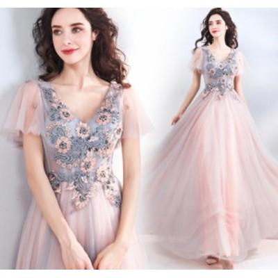 チュールスカート マキシドレス 華やかな花柄 大人の魅力 ロング丈ワンピ-ス 袖あり イブニングドレス ピンク色
