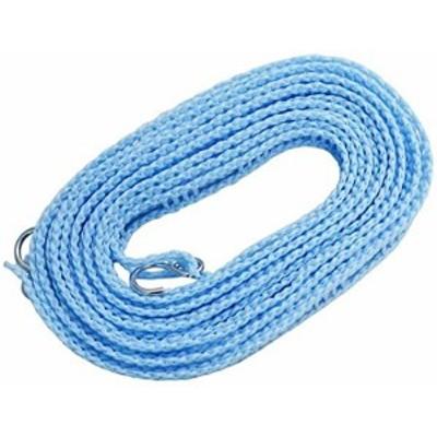 洗濯 物干し ロープ ブルー 約5m ハンガーを掛けられるスリット付 ハンガー ストップ