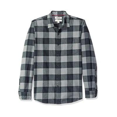 Goodthreads (グッドスレッズ) メンズ スリムフィット 長袖 起毛 フランネルシャツ グレー/ブラックバッファロー S
