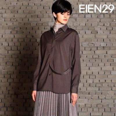 日本未発売 EIEN29 ブラウス ロング ウール混 長袖 無地 ナチュラル シャツ | ゆったり ロング オーバーサイズ 30代 40代 母の日