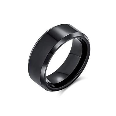 [ブリングジュエリ-] チタン製 幅8ミリ 黒 シンプル コンフォ-トフィット ユニセックス リング 結婚指輪 サイズ16号並行輸入品