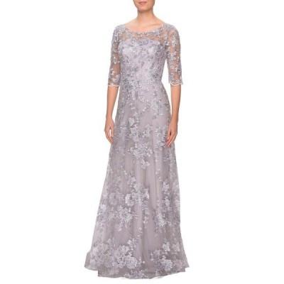ラフェム ワンピース トップス レディース Shimmer Lace A-Line Gown Lavender Grey